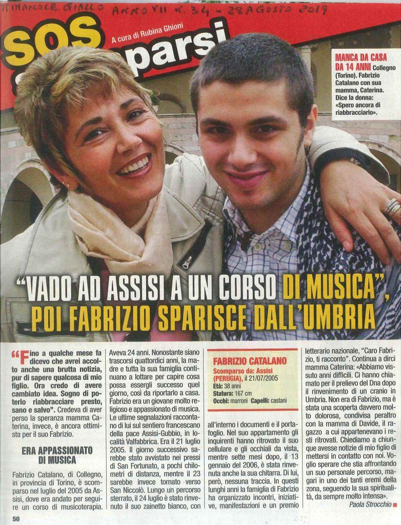Agosto 2019 Giallo Soso scomparsi Fabrizio Catalano