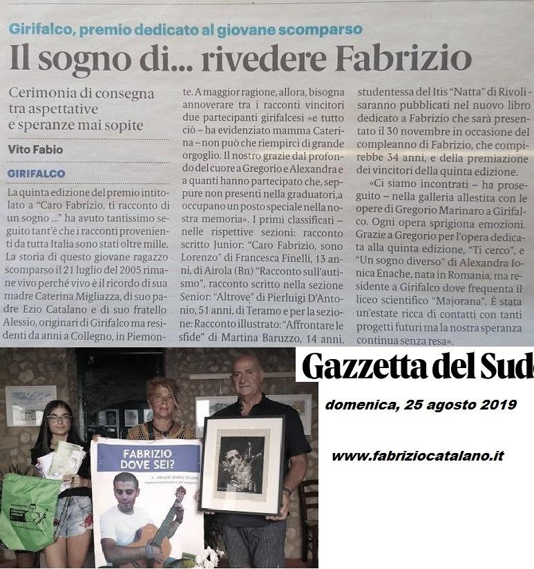 Gazzetta sud 25 agosto 19 Fabrizio Catalano