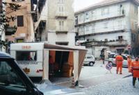 """La vecchia roulotte attrezzata """"02"""" per attivitá logistica e sala radio durante alluvione 2000 in Ivrea"""